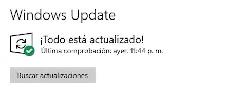 captura de windows update, todo actualizado