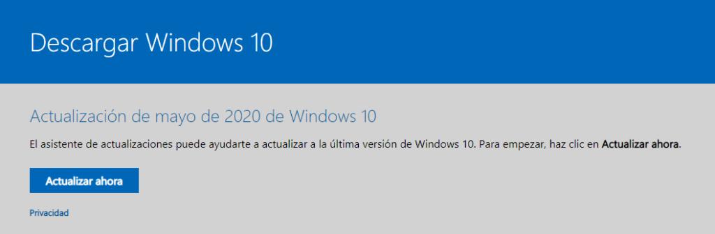 captura de página oficial microsoft para la actualización windows 10