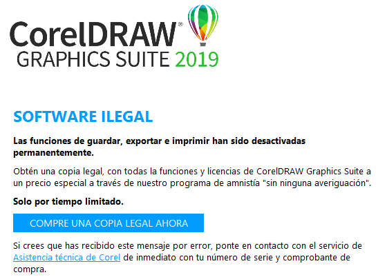 Cartel de error de CorelDraw como copia ilegal