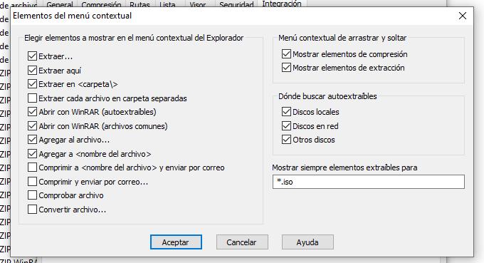 opciones de menu contextual de winrar